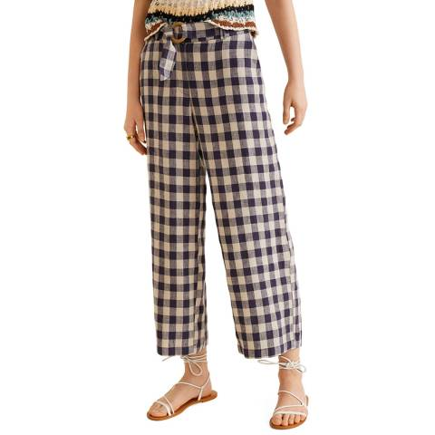Mango Blue Linen-Blend Pants
