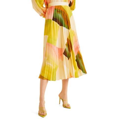 Mango Yellow Printed Pleated Skirt