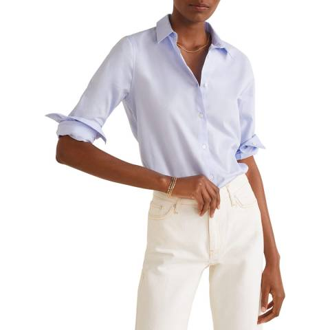 Mango Light Blue Essential Cotton-Blend Shirt