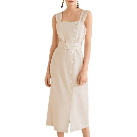 Mango Ecru Buttoned Linen-Blend Dress
