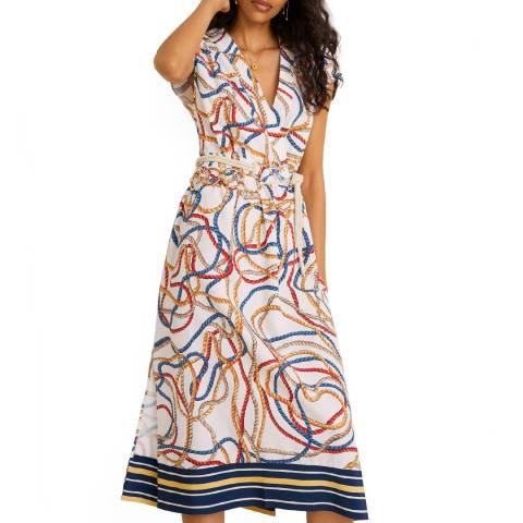 Mango Off White Scarf-Print Long Dress