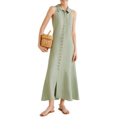 Mango Pastel Green Buttoned Linen-Blend Dress