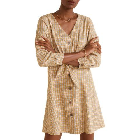 Mango Beige Knot Checked Dress