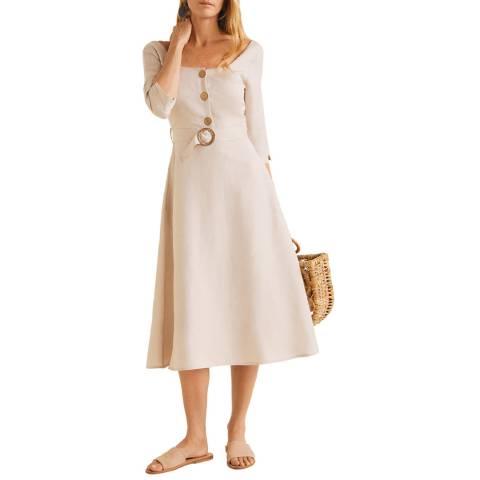 Mango Sand Belt Linen Dress
