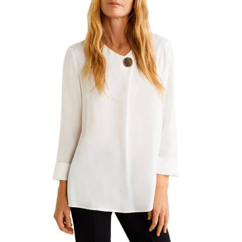 Mango White Button Soft Fabric Blouse