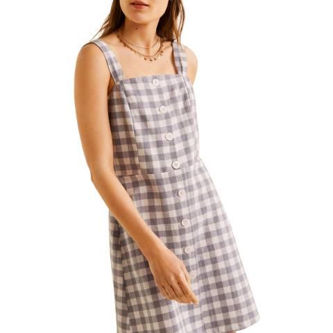 Mango Grey Cotton-Blend Dress