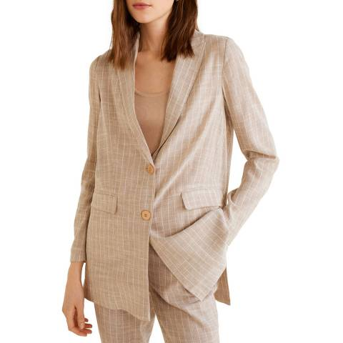 Mango Camel Striped Structured Blazer