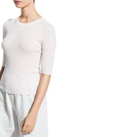 Vince White Broomstick Pleat Cotton Top