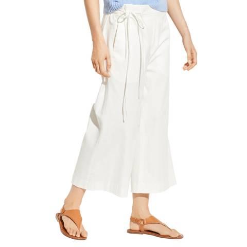 Vince White Tie Waist Cotton Culottes