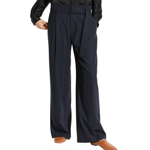 Vince Black Belted Pinstripe Wide Trousers