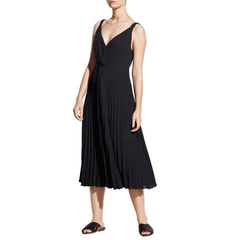 Vince Black Pleated Twist Dress