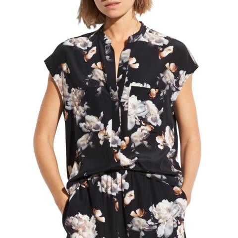 Vince Black Peony Print Silk Shell Top