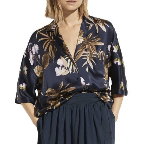Vince Navy Mixed Tropical Silk Shirt