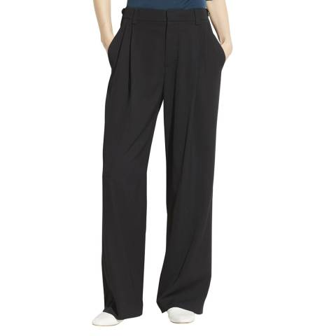 Vince Black Soft Pleat Wide Trousers