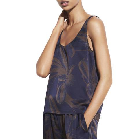 Vince Navy Palm Leaf Silk Tank Top