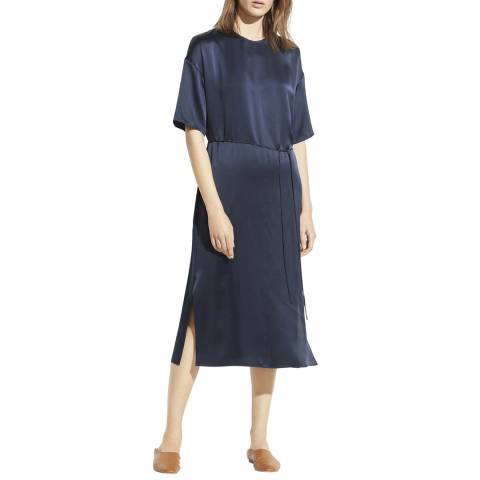 Vince Navy Seamed Front Silk Dress