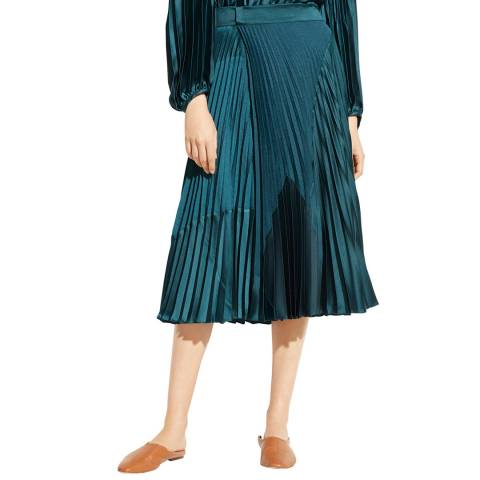 Vince Navy Mixed Media Pleated Skirt