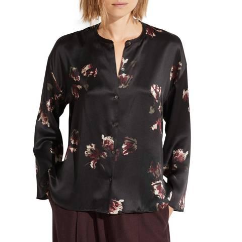 Vince Black Tulip Print Silk Blouse