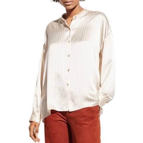 Vince White Stripe Silk Blouse