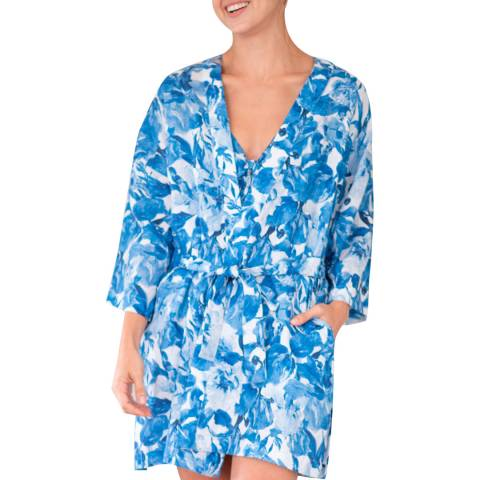 The Lazy Poet Lola Crazy Flowers Blue Kimono Set