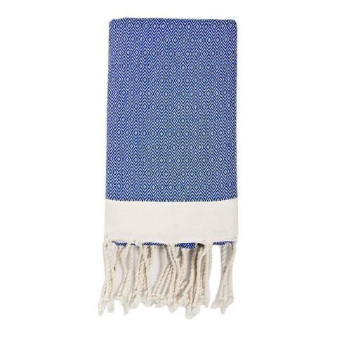 Febronie Fouta Diamond Hammam Throw, Greek Blue
