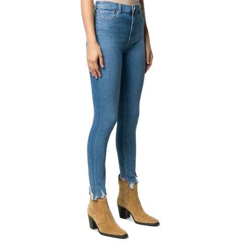 J Brand Blue Leenah Frayed Hem Skinny Stretch Jeans