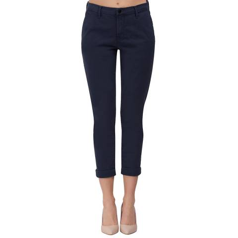 J Brand Navy Josie Stretch Cotton Trousers