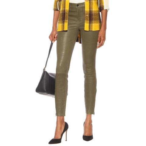 J Brand Khaki Skinny Leather Trousers