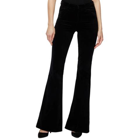 J Brand Black Valentina High Rise Faux Suede Flare Jeans