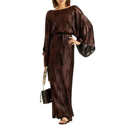 Amanda Wakeley Brown Kimono Embellishment Dress