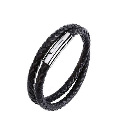 Stephen Oliver Silver Plated & Black Leather Wrap Bracelet