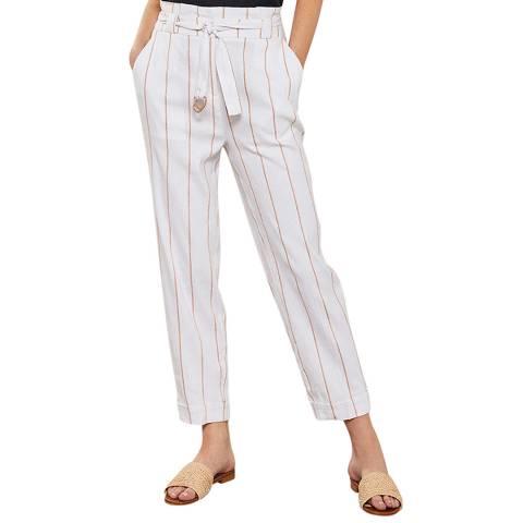 Mint Velvet Ivory Striped Paperbag Trouser