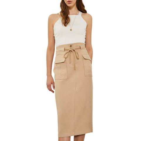 Mint Velvet Fawn Rope Belted Pencil Skirt