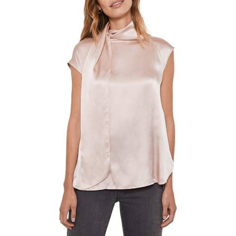 Mint Velvet Blush Tie Neck Silk Satin Top
