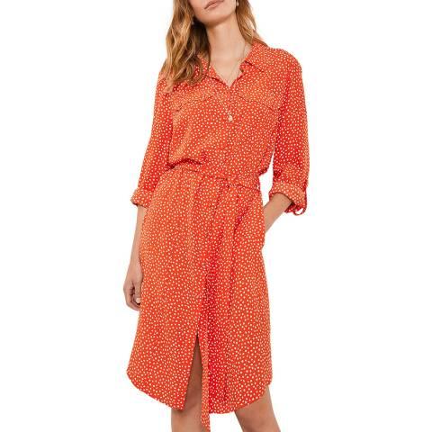 Mint Velvet Orange Spot Print Shirt Dress