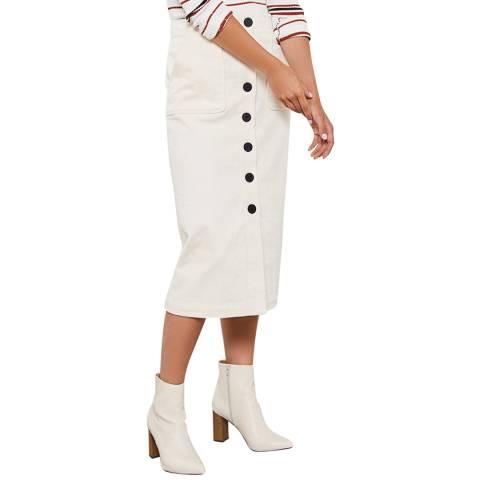 Mint Velvet Cream Cord A-Line Midi Skirt