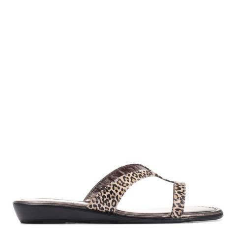 JONES BOOTMAKER Leopard Patent Grevi Leather Flat Sandals
