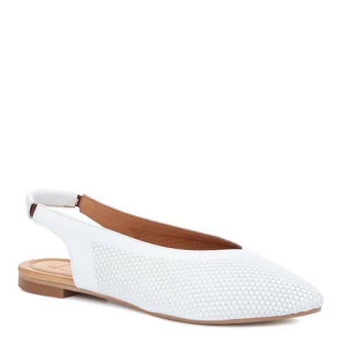 JONES BOOTMAKER White Remi Leather Flat Shoes