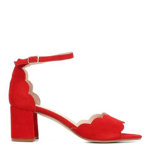 JONES BOOTMAKER Red Carm Heeled Leather Sandals
