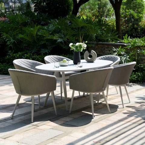Maze Rattan Ambition 6 Seat Oval Dining Set, Lead Chine