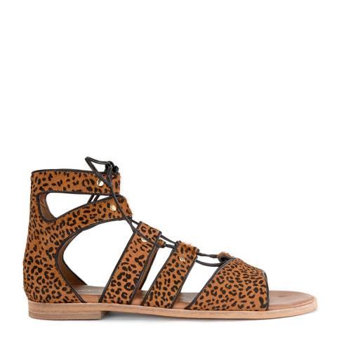 Mint Velvet Brown Animal Louisa Gladiator Sandal