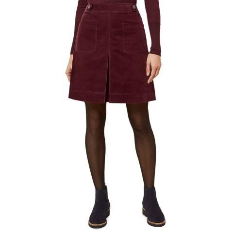 Hobbs London Burgundy Cord Valerie Skirt
