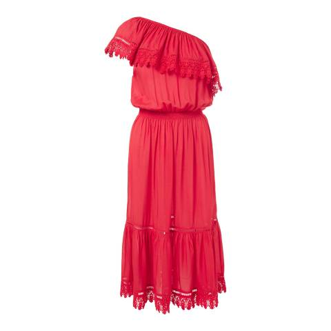 Melissa Odabash Red Jo Embroidered One Shoulder Dress