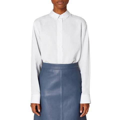PAUL SMITH White/Blue Stripe Longline Shirt