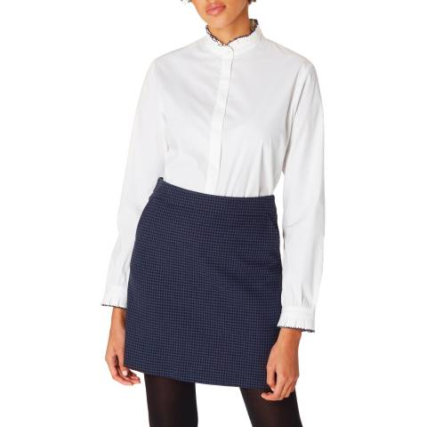 PAUL SMITH White Frill Cotton Stretch Shirt