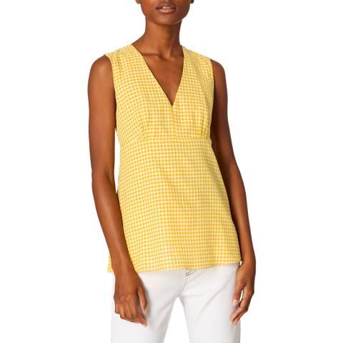 PAUL SMITH Yellow Check Peplum Cotton Top