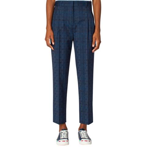 PAUL SMITH Indigo Check Dot Tapered Wool Trousers