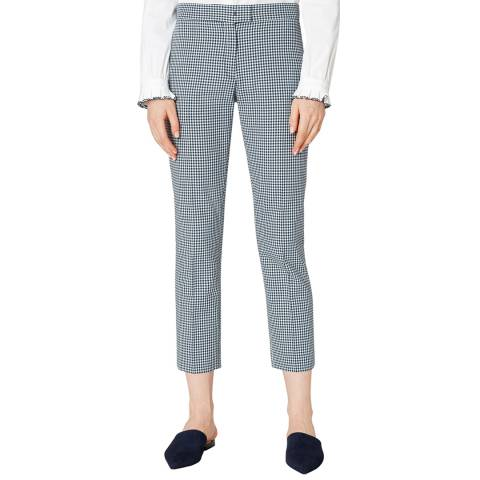PAUL SMITH Blue Check Cropped Cotton Trousers