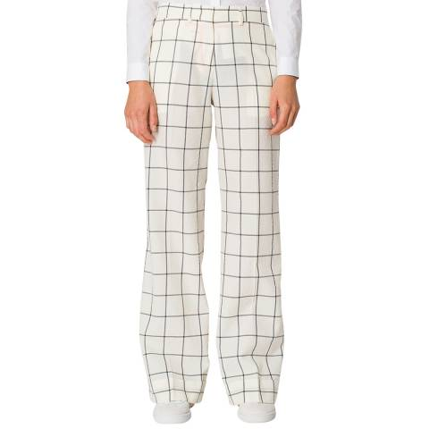 PAUL SMITH Off White Check Wide Wool/Cotton Trousers
