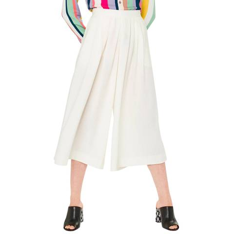 PAUL SMITH Off White Cropped Wool Culottes